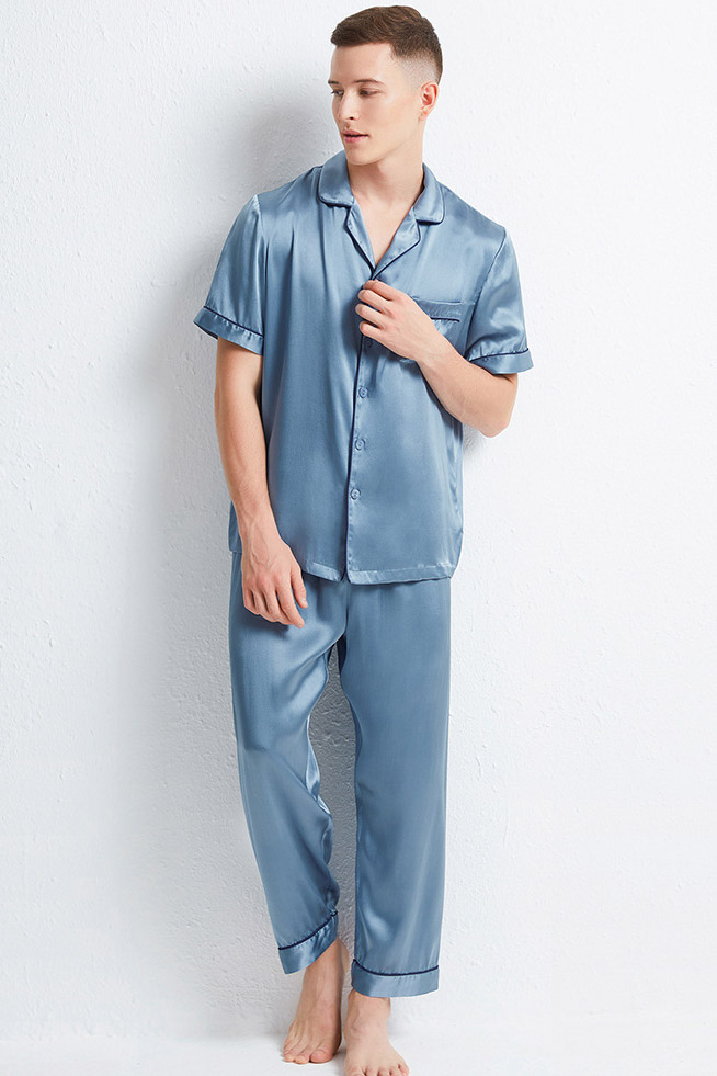 short sleeve satin silk pajamas set for men blue