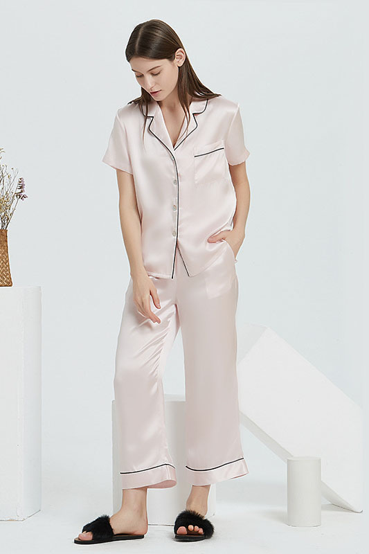 19 Momme women short sleeve satin silk pajamas set pink